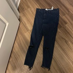 Zara striped jeans, soft material blue and white